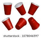 red cups  it's party time on... | Shutterstock .eps vector #1078046597