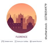 florence famous city scape....   Shutterstock .eps vector #1078054979