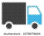 halftone circle shipment van...   Shutterstock .eps vector #1078078604