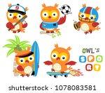 set of owl cartoon vector in... | Shutterstock .eps vector #1078083581