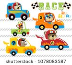 set of animals car racing... | Shutterstock .eps vector #1078083587
