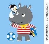 nice rhino and penguin cartoon... | Shutterstock .eps vector #1078083614