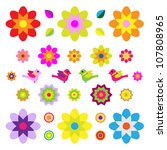 set of different flowers and... | Shutterstock . vector #107808965