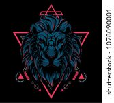 the lion sacred geometry | Shutterstock .eps vector #1078090001