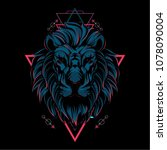 the lion sacred geometry | Shutterstock .eps vector #1078090004