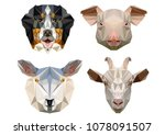 the heads of rural animals are... | Shutterstock .eps vector #1078091507