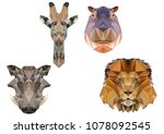 african animals in the style of ... | Shutterstock .eps vector #1078092545