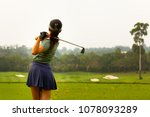 lady golfer are finished golf... | Shutterstock . vector #1078093289