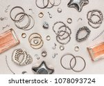 woman's jewelry and perfume.... | Shutterstock . vector #1078093724