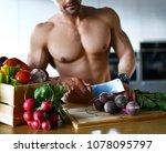 healthy strong muscular sport... | Shutterstock . vector #1078095797
