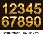 set of gold numbers.vector...