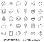 thin line icon set   sausage... | Shutterstock .eps vector #1078123637