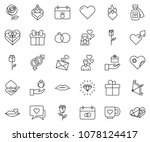 thin line icon set   rose... | Shutterstock .eps vector #1078124417