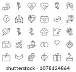 thin line icon set   rose... | Shutterstock .eps vector #1078124864