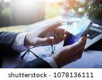 businessmen use the phone to... | Shutterstock . vector #1078136111
