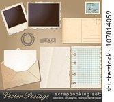 large scrapbooking set of old ... | Shutterstock . vector #107814059