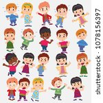 cartoon character boys and... | Shutterstock .eps vector #1078156397