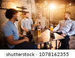 satisfied multicultural male... | Shutterstock . vector #1078162355