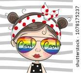 portrait of cute cartoon girl... | Shutterstock .eps vector #1078175237