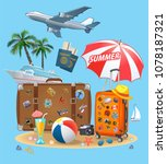 summer travel suitcase and... | Shutterstock .eps vector #1078187321