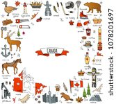 hand drawn doodle canada icons... | Shutterstock .eps vector #1078201697