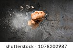 hand breaking through the wall. ... | Shutterstock . vector #1078202987