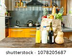 paper bag with various food is... | Shutterstock . vector #1078205687