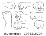 set of fists in vintage style... | Shutterstock .eps vector #1078215209