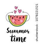 summer vector card. hand drawn... | Shutterstock .eps vector #1078221521