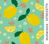 seamless pattern with lemons... | Shutterstock .eps vector #1078223774