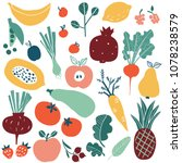 set with hand drawn colorful... | Shutterstock .eps vector #1078238579