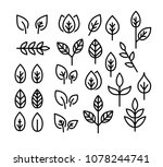 leaves thin line icon set... | Shutterstock .eps vector #1078244741