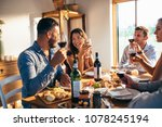 group of friends talking and... | Shutterstock . vector #1078245194
