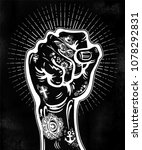 raised inked hand as a fist... | Shutterstock .eps vector #1078292831