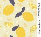 seamless pattern with lemons... | Shutterstock .eps vector #1078302041