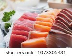 raw fish sashimi traditional... | Shutterstock . vector #1078305431