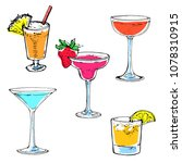 cocktail colorful collection... | Shutterstock .eps vector #1078310915