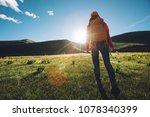 backpacking woman hiker hiking... | Shutterstock . vector #1078340399