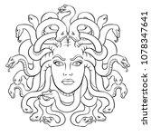 medusa head with snakes greek...   Shutterstock .eps vector #1078347641