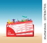 air ticket travel with icon... | Shutterstock .eps vector #1078367531