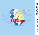 time to travel sign with globe... | Shutterstock .eps vector #1078367534