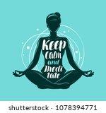 yoga  meditation concept. girl... | Shutterstock .eps vector #1078394771