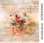 hand painted flowers with... | Shutterstock . vector #1078405064
