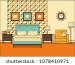 bedroom interior. hotel room... | Shutterstock .eps vector #1078410971
