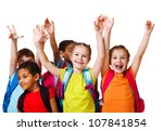 excited school aged kids with...   Shutterstock . vector #107841854