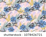 Seamless Pattern With Bird On...