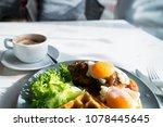 morning breakfast with egg  ... | Shutterstock . vector #1078445645