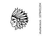 monochrome indian head mascot.... | Shutterstock .eps vector #1078451354