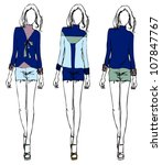 girls fashion sketch denim color | Shutterstock .eps vector #107847767