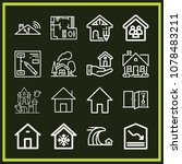 set of 16 house outline icons... | Shutterstock .eps vector #1078483211